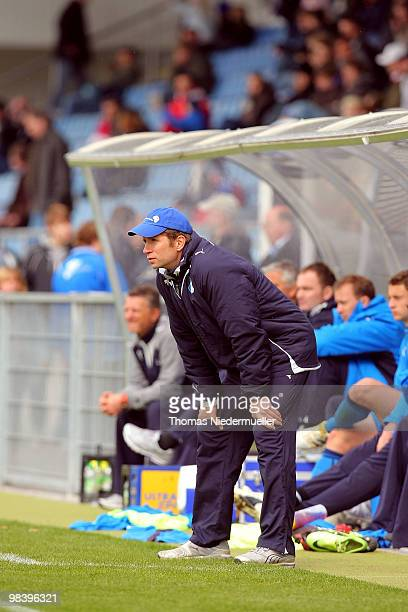 Head coach Guido Streichsbier of Hoffenheim looks on during the DFB Juniors Cup half final between TSG 1899 Hoffenheim and FC Energie Cottbus at the...