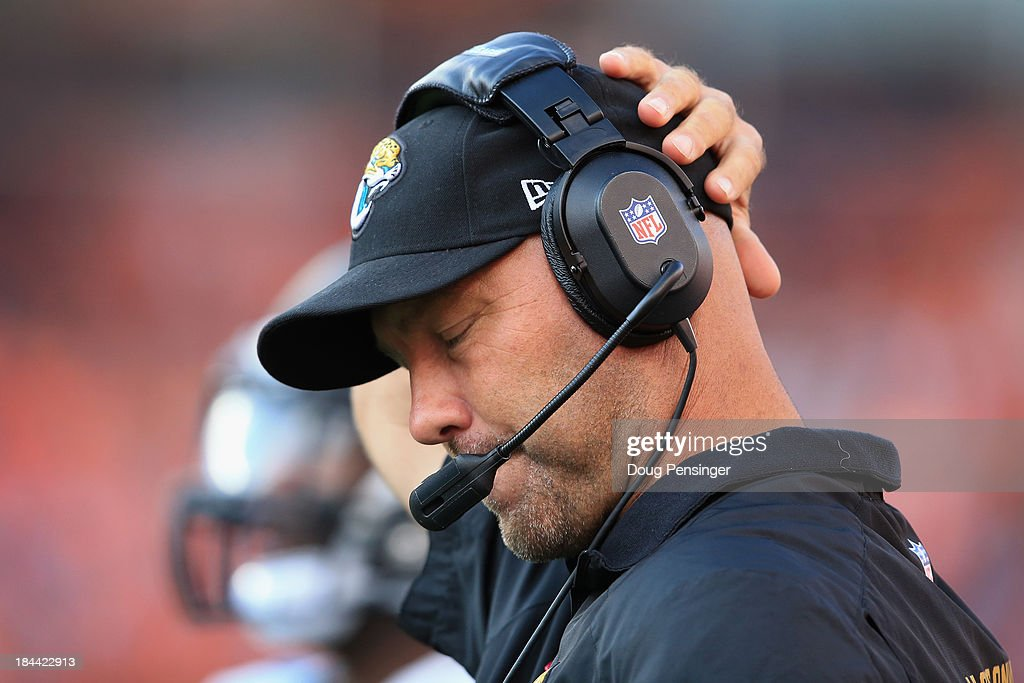 Head coach Gus Bradley of the Jacksonville Jaguars reacts as he leads his team against the Denver Broncos at Sports Authority Field at Mile High on October 13, 2013 in Denver, Colorado. The Broncos defeated the Jaguars 35-19.