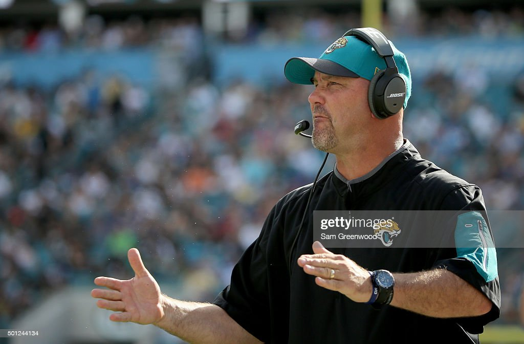 Head coach Gus Bradley of the Jacksonville Jaguars watches the action during the game against the Indianapolis Colts at EverBank Field on December 13, 2015 in Jacksonville, Florida.