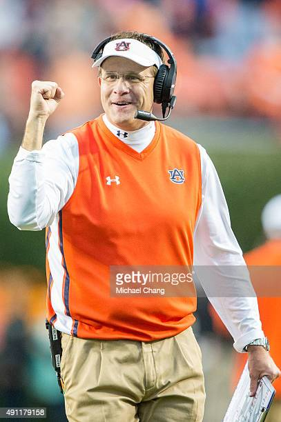 Head coach Gus Malzahn of the Auburn Tigers celebrates after a big play during their game against the San Jose State Spartans on October 3 2015 at...