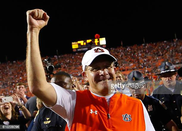 Head coach Gus Malzahn of the Auburn Tigers celebrates their 1813 win over the LSU Tigers at JordanHare Stadium on September 24 2016 in Auburn Alabama