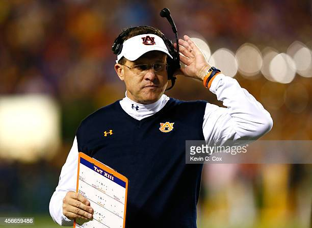 Head coach Gus Malzahn of the Auburn Tigers looks on during the game against the LSU Tigers at Jordan Hare Stadium on October 4 2014 in Auburn Alabama