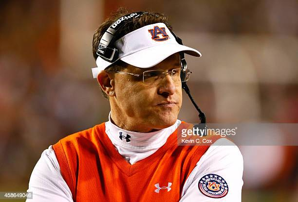 Head coach Gus Malzahn of the Auburn Tigers looks on during the game against the Texas AM Aggies at Jordan Hare Stadium on November 8 2014 in Auburn...