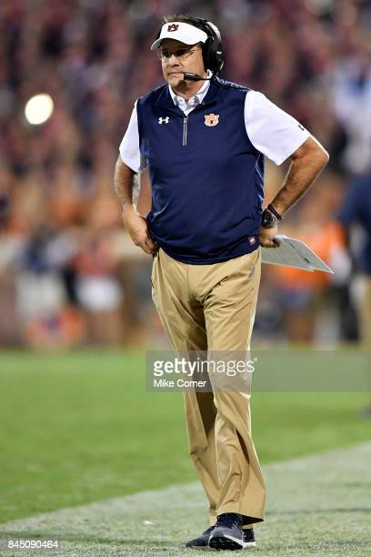 Head coach Gus Malzahn of the Auburn Tigers looks on during the Tigers' football game against the Clemson Tigers at Memorial Stadium on September 9...