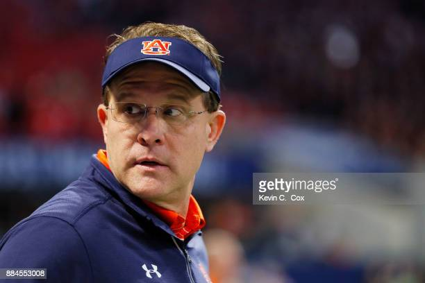Head coach Gus Malzahn of the Auburn Tigers on the field prior to the game against the Georgia Bulldogs in the SEC Championship at MercedesBenz...
