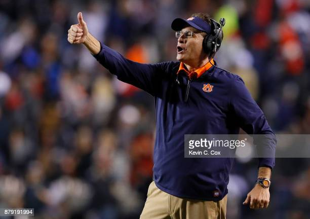 Head coach Gus Malzahn of the Auburn Tigers reacts after a touchdown by the Alabama Crimson Tide was overturned after review during the fourth...