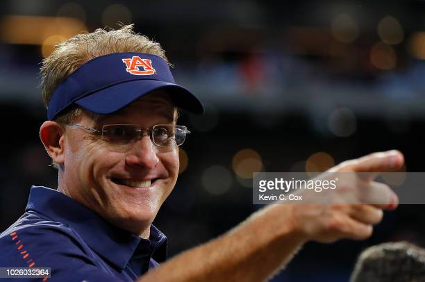 Head coach Gus Malzahn of the Auburn Tigers reacts after their 2116 win over the Washington Huskies at MercedesBenz Stadium on September 1 2018 in...
