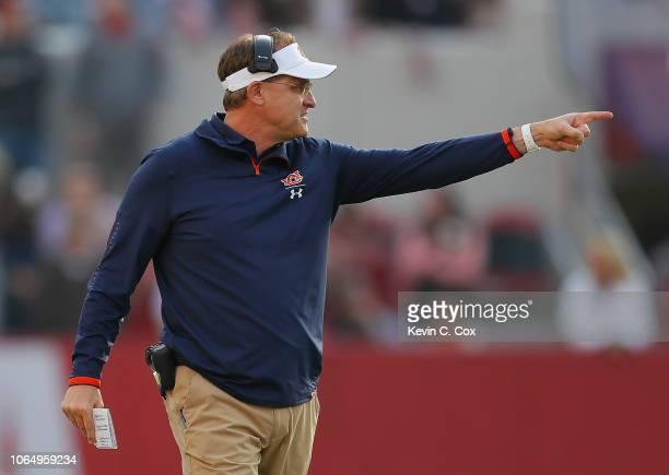 Head coach Gus Malzahn of the Auburn Tigers reacts against the Alabama Crimson Tide at BryantDenny Stadium on November 24 2018 in Tuscaloosa Alabama
