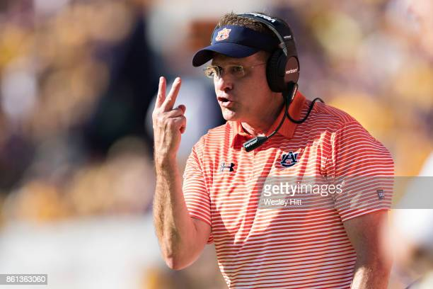 Head Coach Gus Malzahn of the Auburn Tigers signals to the officials during a game against the LSU Tigers at Tiger Stadium on October 14 2017 in...