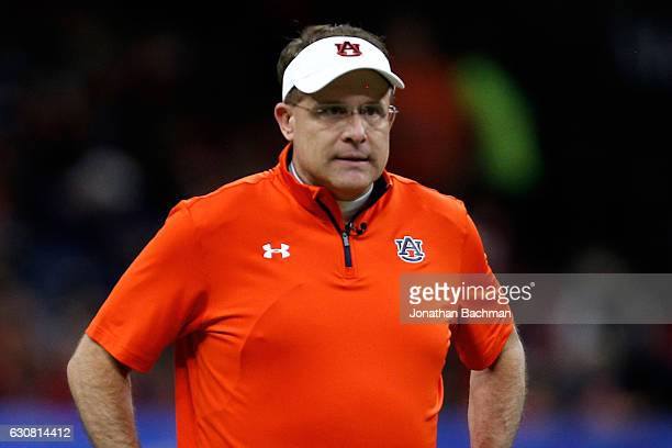 Head coach Gus Malzahn of the Auburn Tigers stands on the field during the Allstate Sugar Bowl at the MercedesBenz Superdome on January 2 2017 in New...