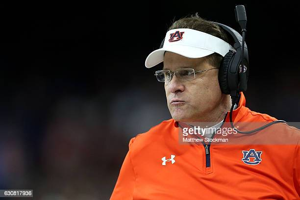 Head coach Gus Malzahn of the Auburn Tigers talks with the officials during the Allstate Sugar Bowl at the MercedesBenz Superdome on January 2 2017...