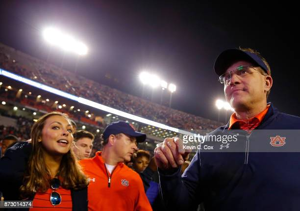 Head coach Gus Malzahn of the Auburn Tigers walks off the field after their 4017 win over the Georgia Bulldogs at Jordan Hare Stadium on November 11...