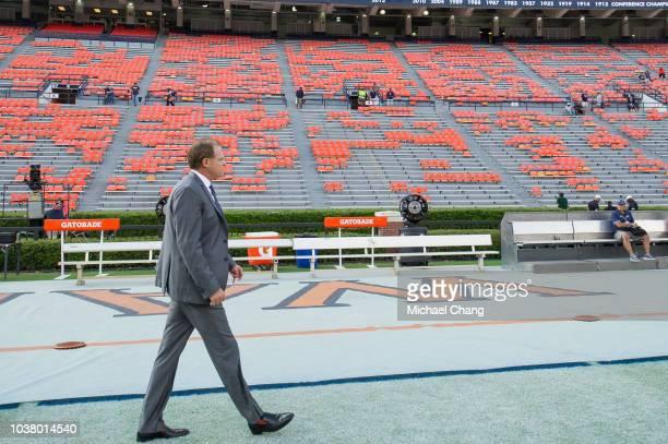 Head coach Gus Malzahn of the Auburn Tigers walks on their field prior to their game against the Arkansas Razorbacks at JordanHare Stadium on...