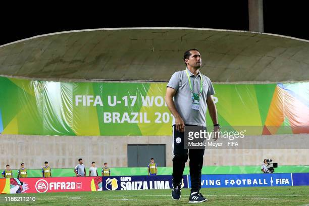 Head Coach Gustavo Morinigo of Paraguay looks on during the FIFA U17 World Cup Brazil 2019 round of 16 match between Paraguay and Argentina on...