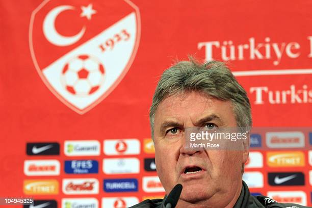 Head coach Guus Hiddink looks on during the Turkish press conference at Olympia stadium on October 7, 2010 in Berlin, Germany.