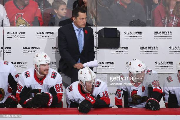 Head coach Guy Boucher of the Ottawa Senators during the NHL game against the Arizona Coyotes at Gila River Arena on October 30 2018 in Glendale...