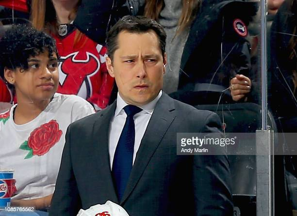 Head coach Guy Boucher of the Ottawa Senators looks on against the New Jersey Devils during the game at Prudential Center on December 21 2018 in...
