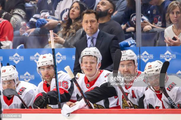 Head Coach Guy Boucher of the Ottawa Senators looks on from the bench during first period action against the Winnipeg Jets at the Bell MTS Place on...