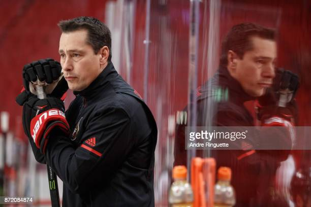 Head coach Guy Boucher of the Ottawa Senators looks on from the bench during practice at Ericsson Globe on November 9 2017 in Stockholm Sweden