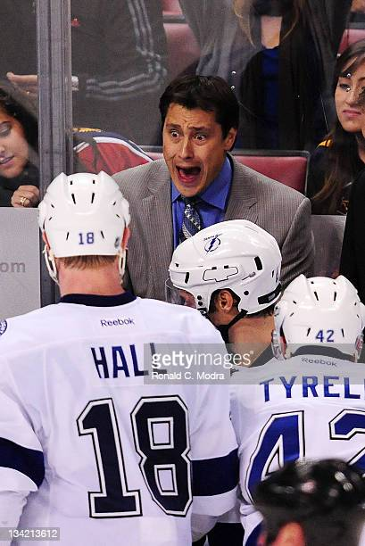 Head coach Guy Boucher of the Tampa Bay Lightning shouts during a NHL game against the Florida Panthers at the BankAtlantic Center on November 25...