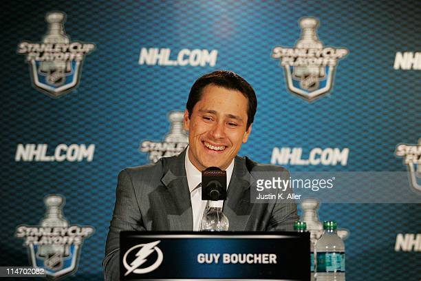 Head coach Guy Boucher of the Tampa Bay Lightning speaks to the media after they defeated the Boston Bruins 5 to 4 in Game Six of the Eastern...
