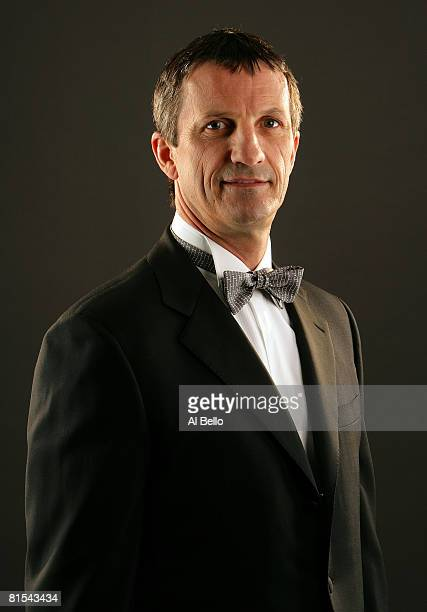 Head coach Guy Carbonneau of the Montreal Canadiens poses for a portrait prior to the 2008 NHL Awards at the at the Elgin Theatre on June 12, 2008 in...