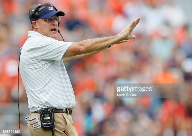 Head coach Guz Malzahn of the Auburn Tigers reacts during the game against the Mississippi Rebels at Jordan Hare Stadium on October 7 2017 in Auburn...