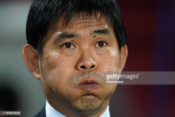 Head coach Hajime Moriyasu of Japan looks on prior to the international friendly match between Japan and Bolivia at Noevir Stadium Kobe on March 26,...
