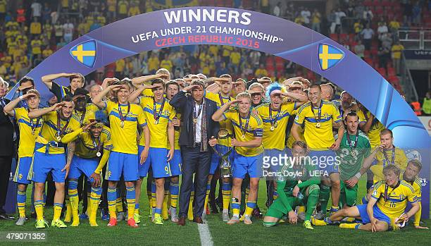 Head coach Hakan Ericson of Sweden joins his team after beating Portugal in the UEFA Under 21 European Championship 2015 Final between Sweden and...