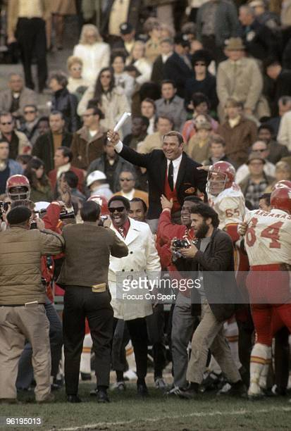 Head Coach Hank Stram of the Kansas City Chiefs is lifted up on the shoulders of his players after the Kansas City Chiefs defeated the Oakland...