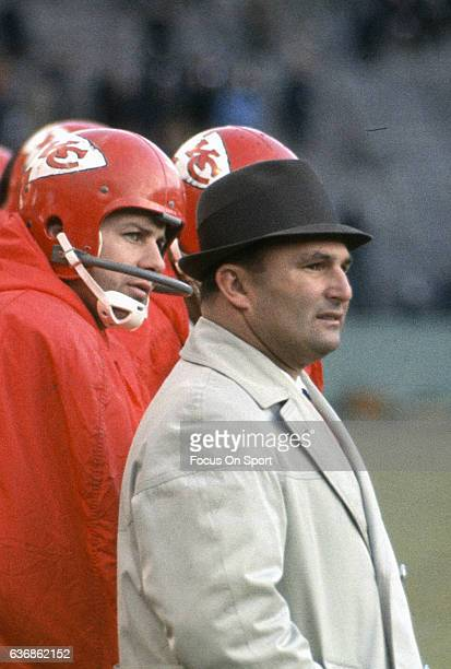 Head Coach Hank Stram of the Kansas City Chiefs looks on from the sidelines during an NFL football game circa 1972 at Municipal Stadium in Kansas...