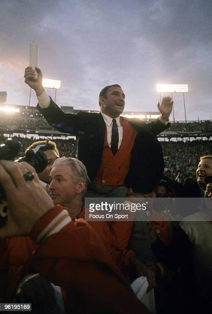 Head Coach Hank Stram of the Kansas City Chiefs with his hands raised high is carried off the field after the Kansas City Chiefs defeated the...