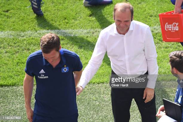 Head coach Hannes Wolf and CEO Bernd Hoffmann of Hamburger SV looks dejected after the Second Bundesliga match between Hamburger SV and MSV Duisburg...
