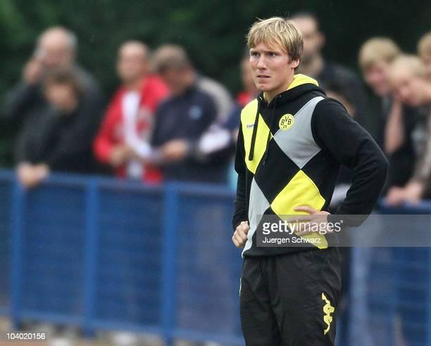Head coach Hannes Wolf of Dortmund watches the match during the AJuniors Bundesliga match between Schalke 04 and Borussia Dortmund at the Sportanlage...