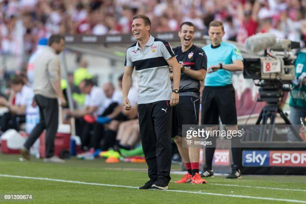 Head coach Hannes Wolf of Stuttgart celebrate their win during the Second Bundesliga match between VfB Stuttgart and FC Wuerzburger Kickers at...