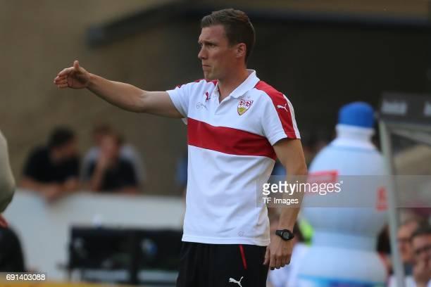 Head coach Hannes Wolf of Stuttgart gestures during the Second Bundesliga match between VfB Stuttgart and FC Wuerzburger Kickers at MercedesBenz...