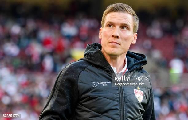 Head coach Hannes Wolf of Stuttgart is seen prior to the Second Bundesliga match between VfB Stuttgart and 1 FC Union Berlin at MercedesBenz Arena on...