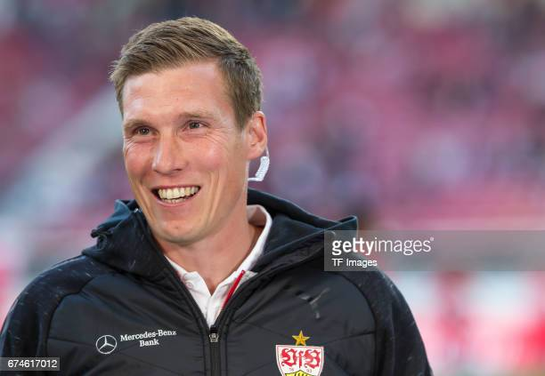 Head coach Hannes Wolf of Stuttgart laughs during the Second Bundesliga match between VfB Stuttgart and 1 FC Union Berlin at MercedesBenz Arena on...