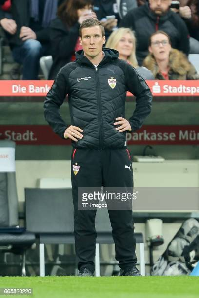 Head coach Hannes Wolf of Stuttgart looks on during the Second Bundesliga match between TSV 1860 Muenchen and VfB Stuttgart at Allianz Arena on April...