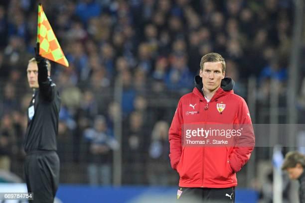 Head coach Hannes Wolf of Stuttgart looks on during the Second Bundesliga match between DSC Arminia Bielefeld and VfB Stuttgart at Schueco Arena on...