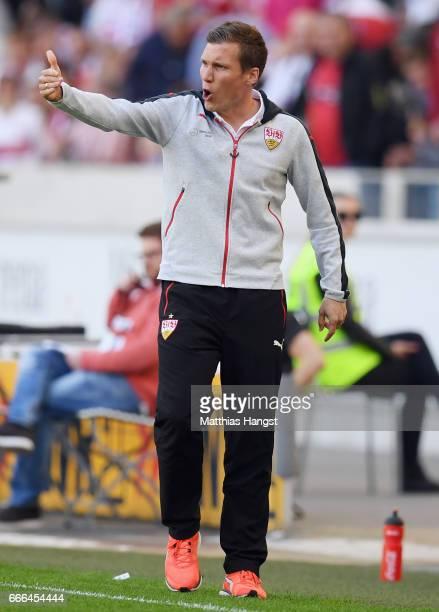 Head coach Hannes Wolf of Stuttgart reacts during the Second Bundesliga match between VfB Stuttgart and Karlsruher SC at MercedesBenz Arena on April...