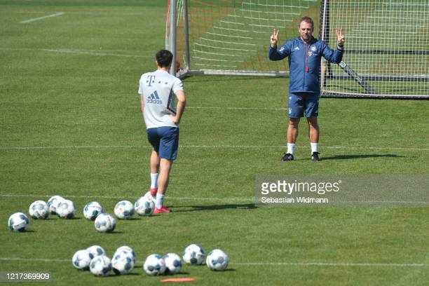 Head coach HansDieter Flick of Bayern Muenchen gestures during a training session at Saebener Strasse training ground on April 07 2020 in Munich...