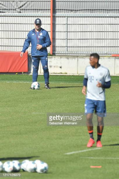 Head coach HansDieter Flick of Bayern Muenchen looks on during a training session at Saebener Strasse training ground on April 06 2020 in Munich...