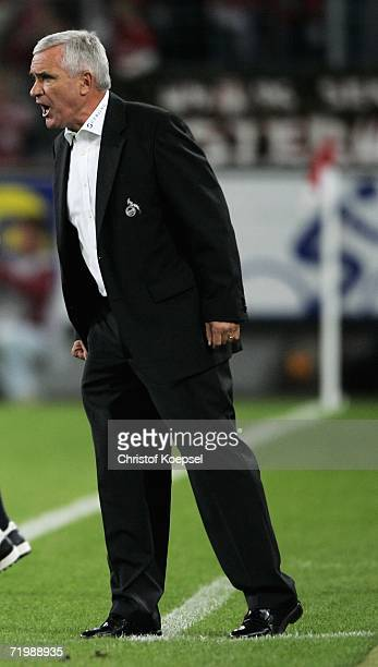Head coach Hanspeter Latour of Cologne shouts to his team during the Second Bundesliga match between 1.FC Cologne and Rot Weiss Essen at the...