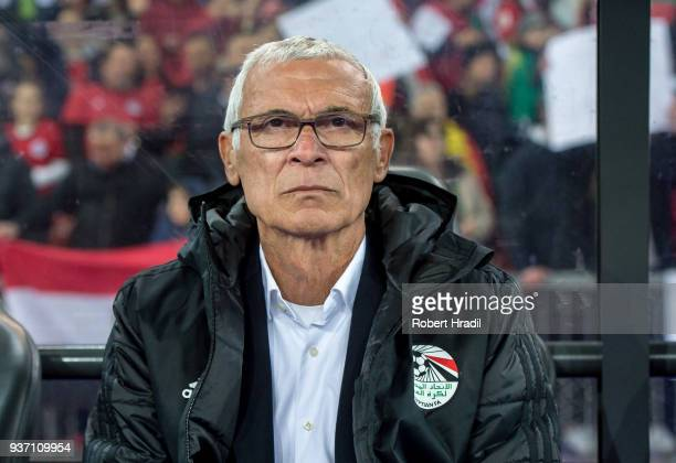 Head Coach Hector Cuper of Egypt looks on during the International Friendly between Portugal and Egypt at the Letzigrund Stadium on March 23, 2018 in...