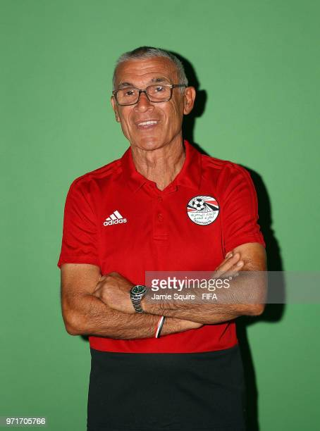 Head coach Hector Cuper of Egypt poses during the official FIFA World Cup 2018 portrait session at The Local hotel on June 11 2018 in Grozny Russia