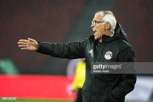 Head Coach Hector Cuper of Egypt reacts during the International Friendly between Egypt and Greece at the Letzigrund Stadium on March 27, 2018 in...