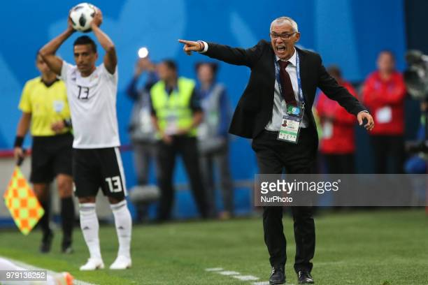 Head Coach Hector Cuper of the Egypt national football team reacts during the 2018 FIFA World Cup match, first stage - Group A between Russia and...