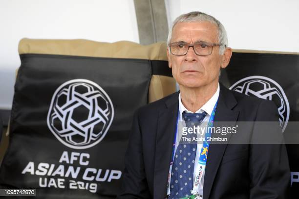 Head coach Hector Cuper of Uzbekistan is seen prior to the AFC Asian Cup Group F match between Japan and Uzbekistsn at Khalifa Bin Zayed Stadium on...