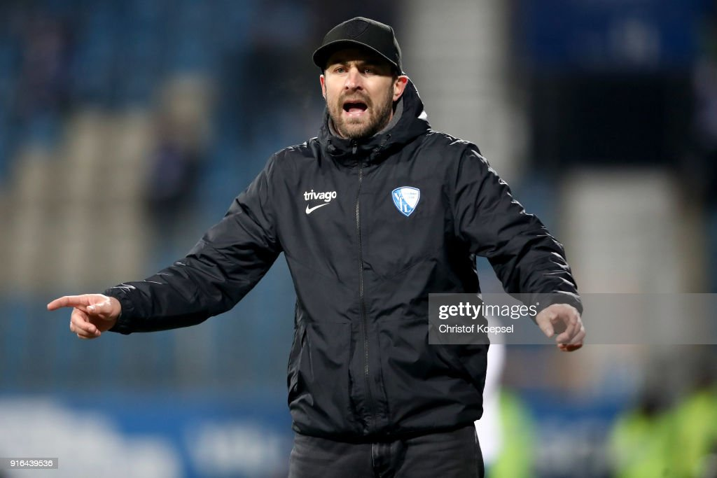 Head coach Heiko Butscher of Bochum reacts during the Second Bundesliga match between VfL Bochum 1848 and SV Darmstadt 98 at Vonovia Ruhrstadion on February 9, 2018 in Bochum, Germany.The match between Bochum and Darmstadt ended 2-1.